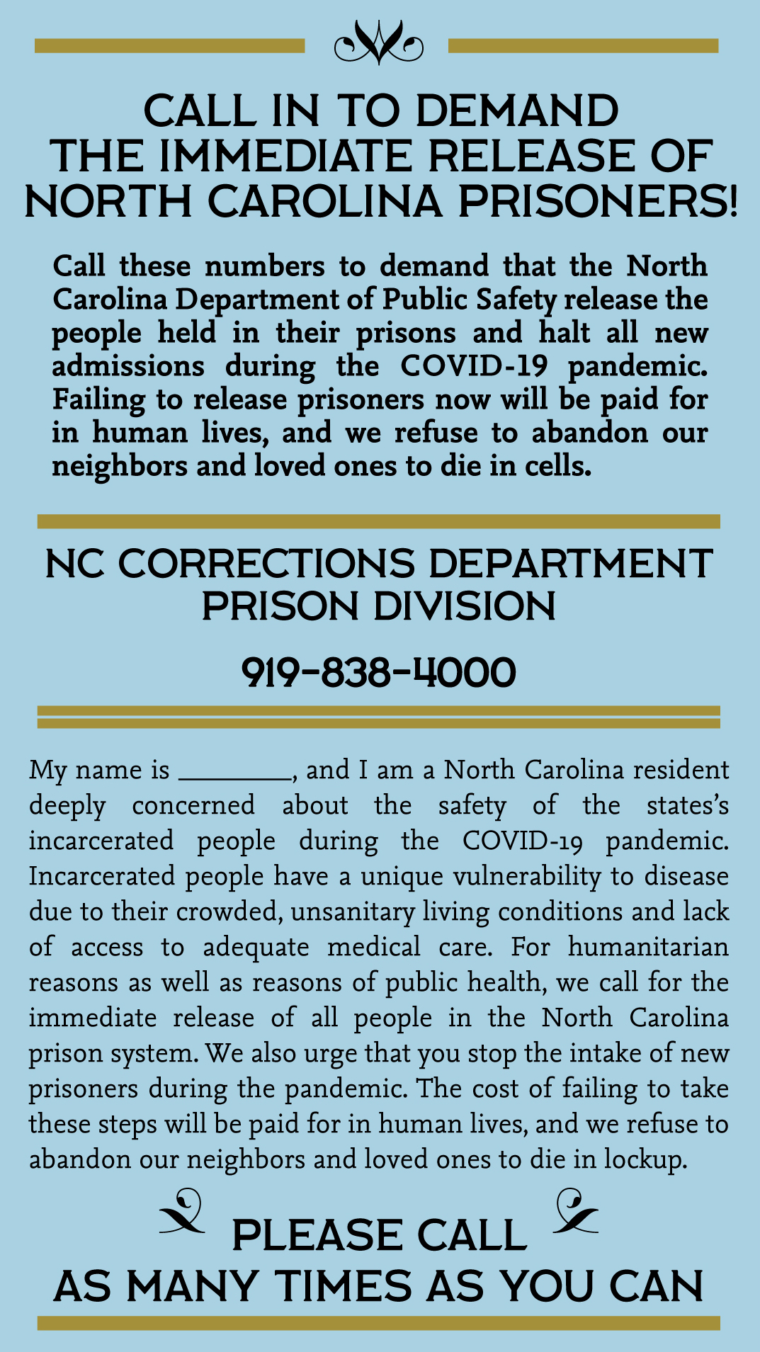 Flyer for NC Prisoner call-in