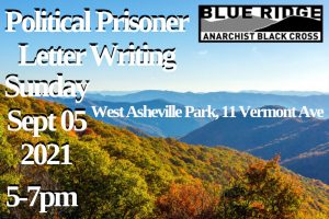 Appalachian horizon in September, trees changing colors, with event info overlayed
